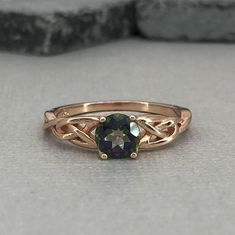 Rose Gold Round Mystic Topaz Celtic Ring Natural Topaz Gemstone Trinity Celtic Ring 925 Sterling Silver Solitaire Promise Engagement Ring by VillaniDesigns on Etsy