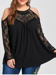 Buy Women's Off Shoulder Lace Long Sleeve Tops Casual Loose Blouse Shirts Plus Size - Black - and Find More From Our Large Selection of Women's Button-Down Shirts With Big Discount. Trendy Plus Size Clothing, Plus Size T Shirts, Plus Size Blouses, Plus Size Tops, Plus Size Women, Plus Size Outfits, Plus Size Fashion, Casual Tops, Blouses For Women
