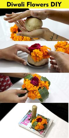 diwali genda phool decoration marigold flower diy Diwali Pooja, Diwali Diy, Diwali Party, Diwali Craft, Diwali Rangoli, Indian Rangoli, Diy Diwali Decorations, Thali Decoration Ideas, Stage Decorations