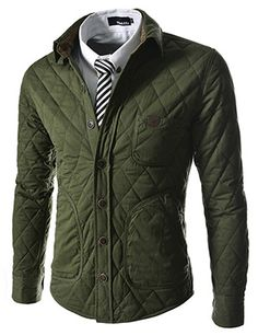 (CZJ01-KHAKI) Slim Fit Leather Patched Neck Wire 7 Button Quilting Jacket