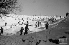 Okolice Kopca Kościuszki, narciarze, Kraków, lata pięćdziesiąte - fot. Henryk Hermanowicz