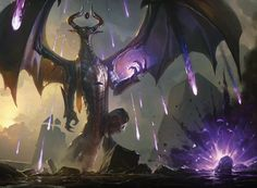 MtG Art: Torment of Hailfire from Hour of Devastation Set by Grzegorz Rutkowski - Art of Magic: the Gathering Magic The Gathering, Fantasy Creatures, Mythical Creatures, Anime Rock, Mtg Planeswalkers, Chaos Dragon, Dark Souls, Mtg Art, Fantasy Monster