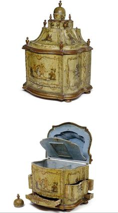 Rococo polychrome painted and arte povera decorated cabinet, Italy, Venice, 18th ct. Nagel Auktionen. Via Alain R.Truong.