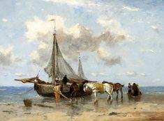 Johan Frederik Cornelis Scherrewitz (1868-1951). Bomschuiten op het strand met trekpaarden. De netten hangen te drogen in de masten. Scherrewitz schilderde aan de Noordzee, maar bij de schilderijen staat nergens de lokatie genoemd. Het is mogelijk Scheveningen.