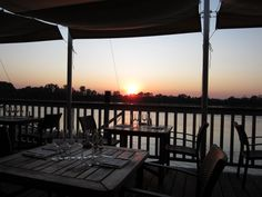 A nice restaurant on the Garonne river in Bordeaux. Delicious wine, great dinner and a romantic sunset.