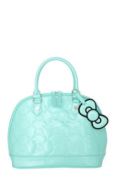 "Hello Kitty Mint Patent Embossed Bag  Internet exclusive! Take Kitty on your travels! Patent bag has an embossed pattern of HK heads, hearts and bows. Finished with a bow tag and hematite hardware.  17"" x 12"" x 7""  Man-made materials  Imported  Product Notice  $62.50"