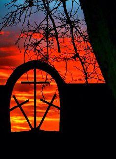 Three crosses western sunset