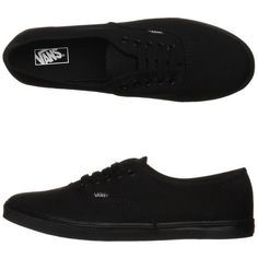 Vans Womens Authentic Lo Pro Shoe featuring polyvore, women's fashion, shoes, sneakers, vans, clothing, black black, black trainers, kohl shoes, lacy shoes, black lace shoes and lace shoes