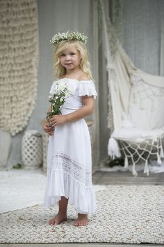 3668f6e4759d Girls White Cold Shoulder Bohemian Flower Girls Dress