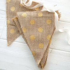 Handmade by Somerset Fabric Banner – Burlap with Gold Polka Dots 7 x Hessian Bunting, Bunting Garland, Garlands, Buntings, Gold Polka Dots, Polka Dot Fabric, Triangle Banner, Monogram Letters, Dorm Decorations
