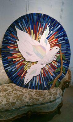 White Dove - Delphi Artist Gallery by Pauline Mosaic Crafts, Mosaic Projects, Mosaic Art, Mosaic Glass, Mosaic Bottles, Mosaic Animals, Mosaic Birds, Mosaic Crosses, Mosaic Wedding