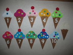 Felt Ice Cream Cones (Choose Primary or Bright Colors) Numbers, Counting, Colors, & Color Match Felt Play Set 11 Colors