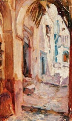 Algérie- Peintre Belge van Jules Van Biesbroeck (1873-1965), huile sur Carton, Titre : Casbah d'Alger