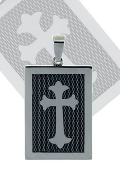 Mens Cross Dog Tag Stainless Steel Pendant with Design by Cuff-Daddy. Mens Cross Dog Tag Stainless Steel Pendant with Design. Arrives in glossy, black cardboard box with cotton padding. Covered by Cuff-Daddy's manufacturer product warranty. Skillfully crafted from high quality materials. A Perfect Accessory for your French Cuff Shirt.