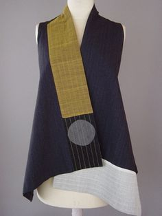 Wrapped Shoulder Vest in Black, White, Blue and Mustard