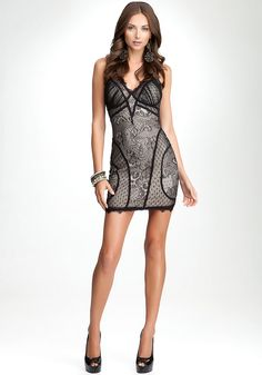 Bebe V Neck Lace Dress For When I Have A Flat Belly Amp