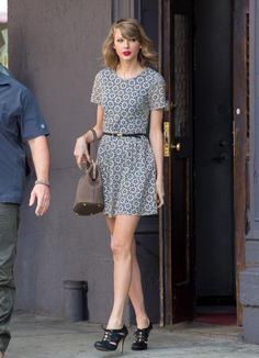 If you haven't seen T-Swift rock a killer ladylike dress, where have you been? Girl's dresses are always in the perfect shape made from the perfect fabric. We're loving the Talavera tile-inspired cutouts of this look for spring. Pair with a cat eye and red lipstick for the ultimate femme style.