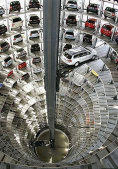 The Inside of Volkswagen Manufacturing Plant in Wolfsburg, Germany Parking Space, Car Parking, Parking Lot, Amazing Architecture, Architecture Design, Green Architecture, Concept Architecture, Volkswagen Factory, Parking Building