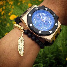 Mcllroy 6mm Black Matte Stone Agate & Tiger Eyes Stone Bracelet With Gold Leaf Charm Bracelet Men Jewelry Pulseras Hombre