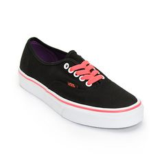 For a basic look with a pop of color, step into a pair of the Vans Authentic Black and Neon Red shoes for girls.