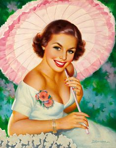 """When a woman is described as """"glowing"""", this is what they  mean.  Any more and she would be radioactive! Illustration by Edward D'Ancona."""