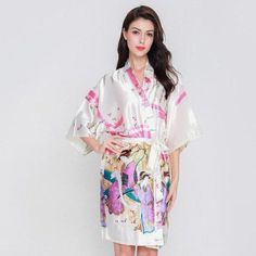Sexy Female Silk Satin Kimono Robe Dress Gown Nightwear Chinese Style Print  Sleepwear Summer Floral NightgownOversize S-3XL 6bbe119a2