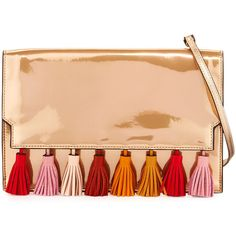 Rebecca Minkoff Sofia Tassel Leather Clutch Bag ($225) ❤ liked on Polyvore featuring bags, handbags, clutches, rose gold, metallic purse, leather purses, red handbags, leather clutches and leather handbags