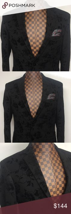 🔥👌🏾Tallia-Black Velvet PaisleyPrint Blazer 40R Tallia NEW Black Mens 40R Button Velvet Paisley-Print Sport Coat $350  Brand: Tallia  Color: Blacks  Condition: New with tags  Product Details:  Color: Blacks Size Type: Regular Jacket Size: 40 Jacket Length: Regular Style: One Button Material: 100% Polyester Interior Pockets: 3 Pockets Exterior Pockets: 3 Pockets  ID#2399 Tallia Suits & Blazers Sport Coats & Blazers