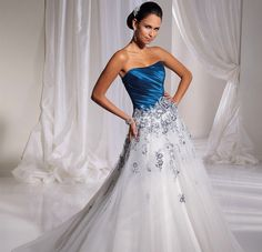 Long Colored Blue and White Wedding Dresses Strapless White and Blue Wedding Gowns with Color Organza Wedding Gowns, Blue Wedding Gowns, Wedding Dress Sizes, Colored Wedding Dresses, Bridal Wedding Dresses, Cheap Wedding Dress, Bridesmaid Dresses, Organza Bridal, Blue Bridal
