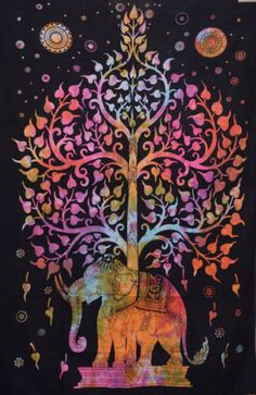 indian elephant tree of life tapestry wall hanging