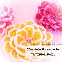 Aprende a Tejer Flores Crochet Super Fáciles / Tutorial en español | Crochet y Dos agujas