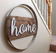 Home Sign Home Wood Sign Wood Signs Home Warming Gifts Home Signs Rustic Home Decor Rustic Wall Decor Wine Barrel Ring Decor Home Wine Barrel Crafts, Wine Barrel Rings, Wine Barrels, Barris, Wine Barrel Furniture, Barrel Projects, Metal Barrel, Wood Signs For Home, Bourbon Barrel