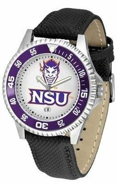 Northwestern State University Men's Leather Sports Watch by SunTime. $68.95. Date Calendar And Rotating Bezel. Adjustable Band. Poly/Leather Band. Men. Officially Licensed Northwestern State Demons Men's Leather Sports Watch. Northwestern Demons men's leather wristwatch. Northwestern Demons wrist watch features functional rotating bezel color-coordinated to compliment team logo. A durable, long-lasting combination nylon/leather strap, together with a date calendar, round out t...