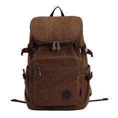 Amazon.com   F.Dorla® Vintage Casual Canvas Leather Backpack Rucksack  Bookbag Satchel Hiking Outdoor Bag (Dark Khaki)   Sports   Outdoors 42acf493aa