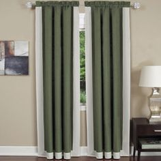 Sage.  Solid Color Curtain Panels. Solid color blocked with mitered corners creates this tailored panel with available matching valance and tiers & valances to enhanced any room in the house. Also Available with Coordinating Valence and Tier Pairs. Also available in different sizes.