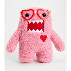 Pink Nerd Domo In Love Plush ($4.99) ❤ liked on Polyvore featuring accessories, toys, other, domo and peluches