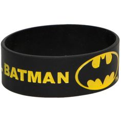 DC Comics Batman Keep Calm And Call Rubber Bracelet   Hot Topic ($7) ❤ liked on Polyvore featuring jewelry, bracelets, batman, accessories, rubber bracelets, black bangles, rubber jewelry, kohl jewelry, yellow jewelry and black jewelry