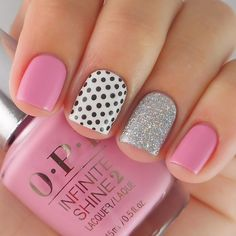 """""""Here's a close up of my mani from the other day using @opi_products OPI Infinite Shine """"Follow Your Bliss"""" paired with a little sparkle and some polka…"""""""