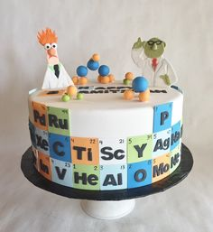 Barmitzvah Cake | Birthday Cake | Chemistry | Muppets | Beaker | Bunsen | fondant | appliques | periodic table | molecules