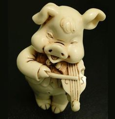 This comical little pig puts you in the mood of the early century right away, it is so charming, that you can, literally, feel the Art Nouveau, Art Deco, Animal Magic, Little Pigs, Violin, Craftsman, Garden Sculpture, Creepy, Weird