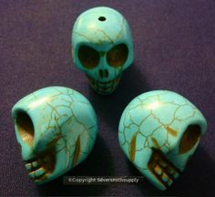 3 Huge turquoise howlite skulls bead 30x30x24mm drilled top to bottom fpb171b #Silversmithsupply #HumanSkull