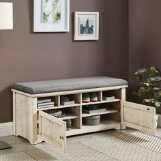 China Home Furniture Old White MID-Century Rentschler Wood Storage Shoe Rack Bench with Two Doors - China Home Furniture, MDF Shoe Rack Bench, Bench With Shoe Storage, Shoe Racks, Shoe Storage Cabinet, Wood Storage, Garage Storage, White Houses, Interior Design Living Room, Decoration