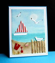 delightful summer beach scene card: FS442 Summer at the Beach by catluvr2  ... luv the sand ... die cut sailboat, fence, sea gulls ++ ...