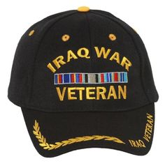 596f26d341a Military Iraq War Veteran with Ribbon Adjustable Hat - Black at Amazon  Men s Clothing store  Baseball Caps