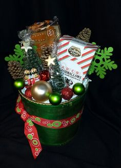 Small Holiday Treats & Fir tree Candle Gift Basket by Flower Fiesta Sacramento Holiday Treats, Holiday Decor, Fir Tree, Sacramento, Gift Baskets, Goodies, Candles, Christmas Ornaments, Flowers