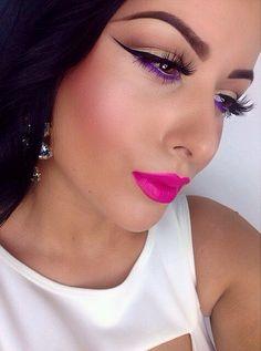 Purple eye liner & pink lips by mua Amrezy