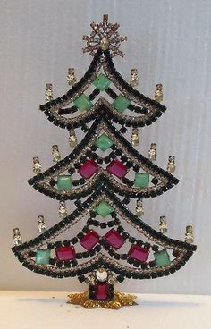 SIGNED HUSAR D Czech Rhinestone Standing CHRISTMAS TREE Green/Pink/Clear | eBay