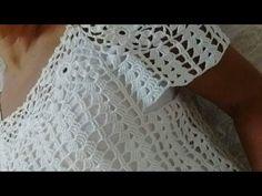 Blusa de Crochê (Destro) - YouTube Crochet Summer Dresses, Crochet Summer Tops, Crochet Crop Top, Crochet Cardigan, Mode Crochet, Crochet Baby, Knit Crochet, Crochet Designs, Crochet Patterns