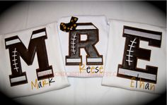 Personalized Football Initial Tee T Shirt or Onesie Your Team Colors Custom Applique Sports. $24.00, via Etsy.