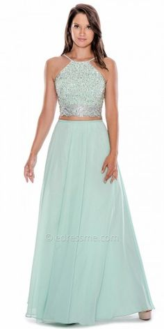 Two Piece Lace Up Prom Dress by Decode 1.8 #edressme